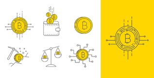 Digital gold bitcoin concept icon set. Set of Line Stroke Vector Bitcoin and Cryptocurrency Icons design Royalty Free Stock Photo