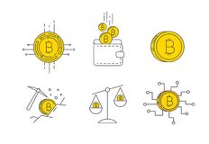 Digital gold bitcoin concept icon set. Set of Line Stroke Vector Bitcoin and Cryptocurrency Icons design Royalty Free Stock Photography