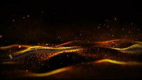 Digital gold color particles and light motion abstract background stock video footage