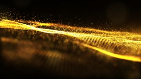 Digital gold color sparkling wave particles flow and bokeh abstr. Act background Royalty Free Illustration