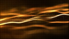 Digital gold color wave abstract background Royalty Free Stock Photos