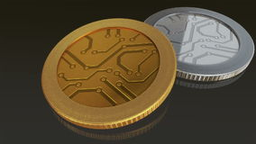 Digital gold silver coins. The digital currency coin of peer-to-peer for capital transaction stock video