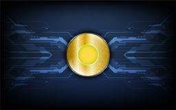 Digital golden coin on data transfer tech concept background Stock Photo