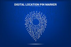 Location Pin Marker from circuit board line royalty free stock photography