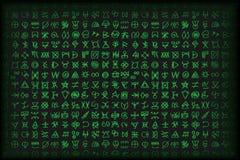 Digital grön matris och bsckground för vektor för symboler för datorkod vektor illustrationer