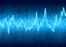 Digital graphic chart display. Digital graphic grid chart graphic pulse rate display vector illustration