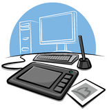 Digital graphic tablet Royalty Free Stock Photos