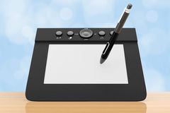 Digital Graphic Tablet with Pen. 3d Rendering Royalty Free Stock Image