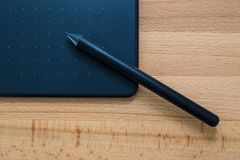 Digital graphic tablet and pen Stock Image