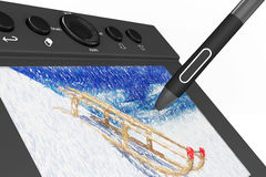 Digital Graphic Tablet with Pen and Sledges drawing Stock Images