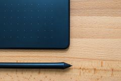 Digital graphic tablet and pen Stock Photo