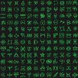 Digital green matrix and computer code symbols vector seamless background. royalty free illustration