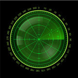 Digital Green Radar Screen on Black Background Royalty Free Stock Photos