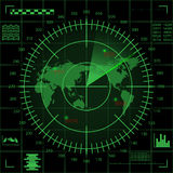 Digital green radar screen with world map, targets and futuristic user interface on black background Royalty Free Stock Photography