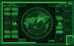 Digital green radar screen with world map, targets and futuristic user interface on dark background. Abstract digital green radar screen with world map, targets Stock Image