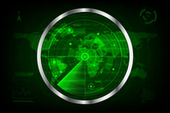 Digital green radar with targets and world map vector illustration