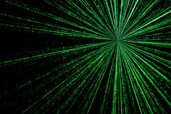 Digital green star burst matrix generated in black background, t. Echnology concept Stock Photo