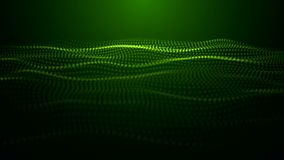 Digital green wave particles form for digital background. stock footage