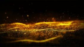 Digital guld- färgpartiklar och abstrakt bakgrund för ljus rörelse