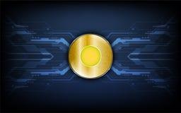 Digital guld- mynt på bakgrund för begrepp för tech för dataöverföring arkivfoto