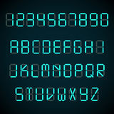 Digital-Guss, Weckerbuchstaben und Zahlen vector Alphabet stock abbildung