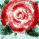 Digital hand drawn illustration of a beautiful red rose, on a bl. Ue background vector illustration
