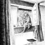 Digital hand drawn picture of a young woman smoking a cigarette. Hand made digital drawing of a hotel room scene, with a woman smoking a cigarette on the window royalty free illustration