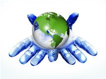 Digital hand with globe. Digital hand holding the globe to show environment issue Royalty Free Stock Photos