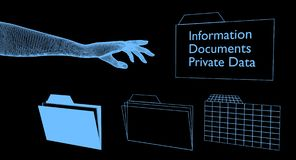 Digital hand reaching for digital folders with private data. Royalty Free Stock Images
