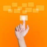 digital hand som pekar att trycka på för skärm Arkivbild