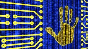 Digital handprint on datastream circuit board Royalty Free Stock Image