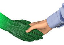 Digital Handshake. 3D illustration of a concept for a digital agreement via the internet Stock Photography