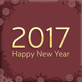 Digital happy new year 2017 text design. Vector greeting illustration with golden numbers and abstract snowflakes. happy new year 2017 vector background design Royalty Free Stock Photo