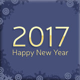 Digital happy new year 2017 text design. Vector greeting illustration with golden numbers and abstract snowflakes. happy new year 2017 vector background design Stock Image
