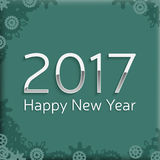 Digital happy new year 2017 text design. Happy new year 2017 text design. vector greeting illustration with silver numbers and abstract snowflake Stock Photography