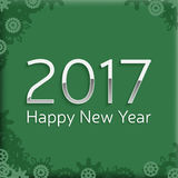 Digital happy new year 2017 text design. Happy new year 2017 text design. vector greeting illustration with silver numbers and abstract snowflake Stock Image