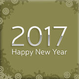 Digital happy new year 2017 text design. Happy new year 2017 text design. vector greeting illustration with silver numbers and abstract snowflake Royalty Free Stock Image
