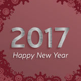 Digital happy new year 2017 text design. Vector greeting illustration with silver numbers and snowflakes. happy new year 2017 vector background Royalty Free Stock Image