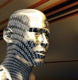 Digital head. 3d illustration of golden digital head over metallic background Royalty Free Stock Photos