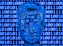 Digital head. Glass head in front of binary code Royalty Free Stock Images