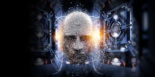 Digital head, artificial intelligence concept royalty free illustration