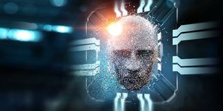 Digital head, artificial intelligence concept stock illustration