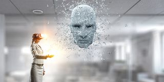Digital head, artificial intelligence and virtual reality. Mixed media royalty free stock photography