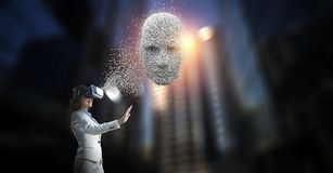 Digital head, artificial intelligence and virtual reality. Mixed media stock images