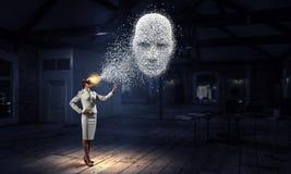 Digital head, artificial intelligence and virtual reality. Mixed media stock photos