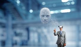 Digital head, artificial intelligence and virtual reality. Mixed media stock photography