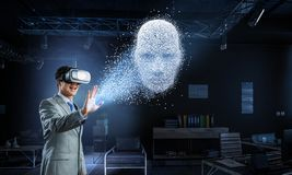 Digital head, artificial intelligence and virtual reality. Mixed media stock image