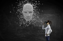 Digital head, artificial intelligence and virtual reality. Mixed media royalty free stock images