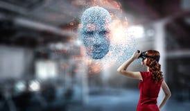 Digital head, artificial intelligence and virtual reality. Mixed media royalty free stock photo