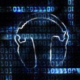 Digital headphones. And binary code techo abstract illustration Royalty Free Stock Images